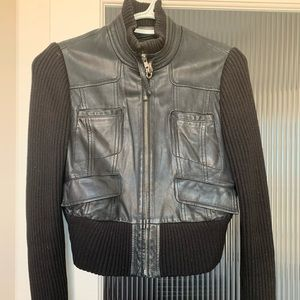 BCBG maxazria leather and wool jacket